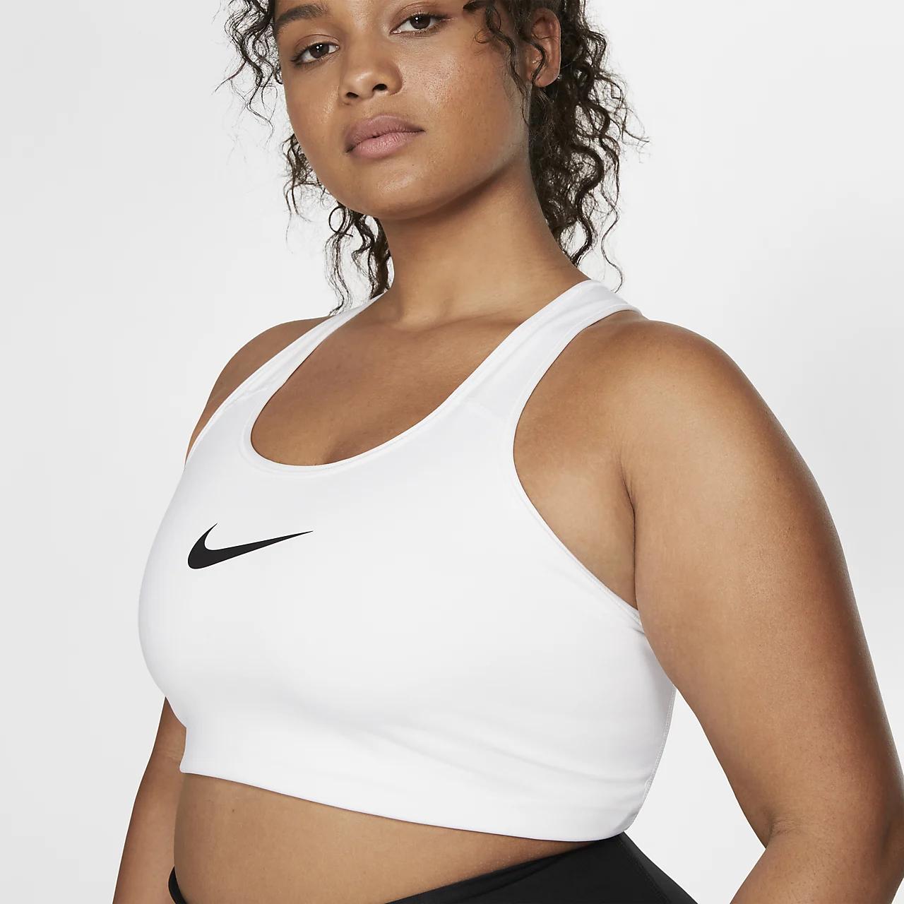 나이키 스우시 여성 미디엄-서포트 논-패딩 스포츠 브라(플러스 사이즈) BQ0973-100