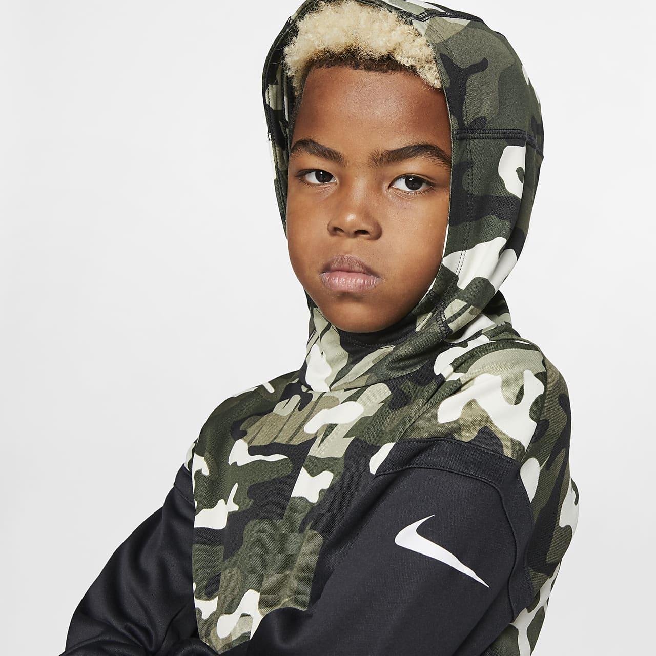 Nike Therma Big Kids' (Boys') Camo Training Pullover Hoodie BV3787-222