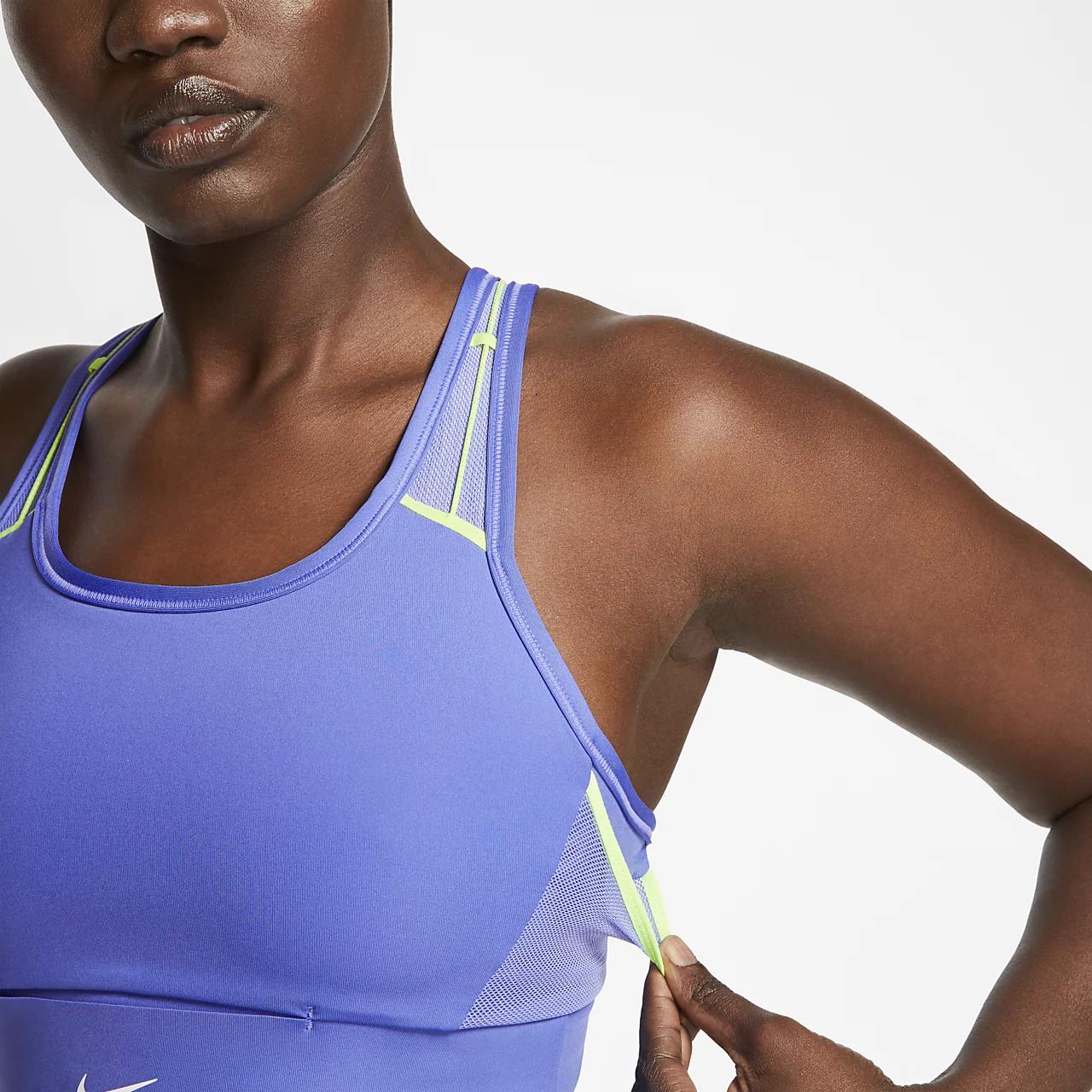 나이키 스우시 아이콘 클래쉬 여성 미디엄-서포트 포켓 스포츠 브라 CJ0698-500