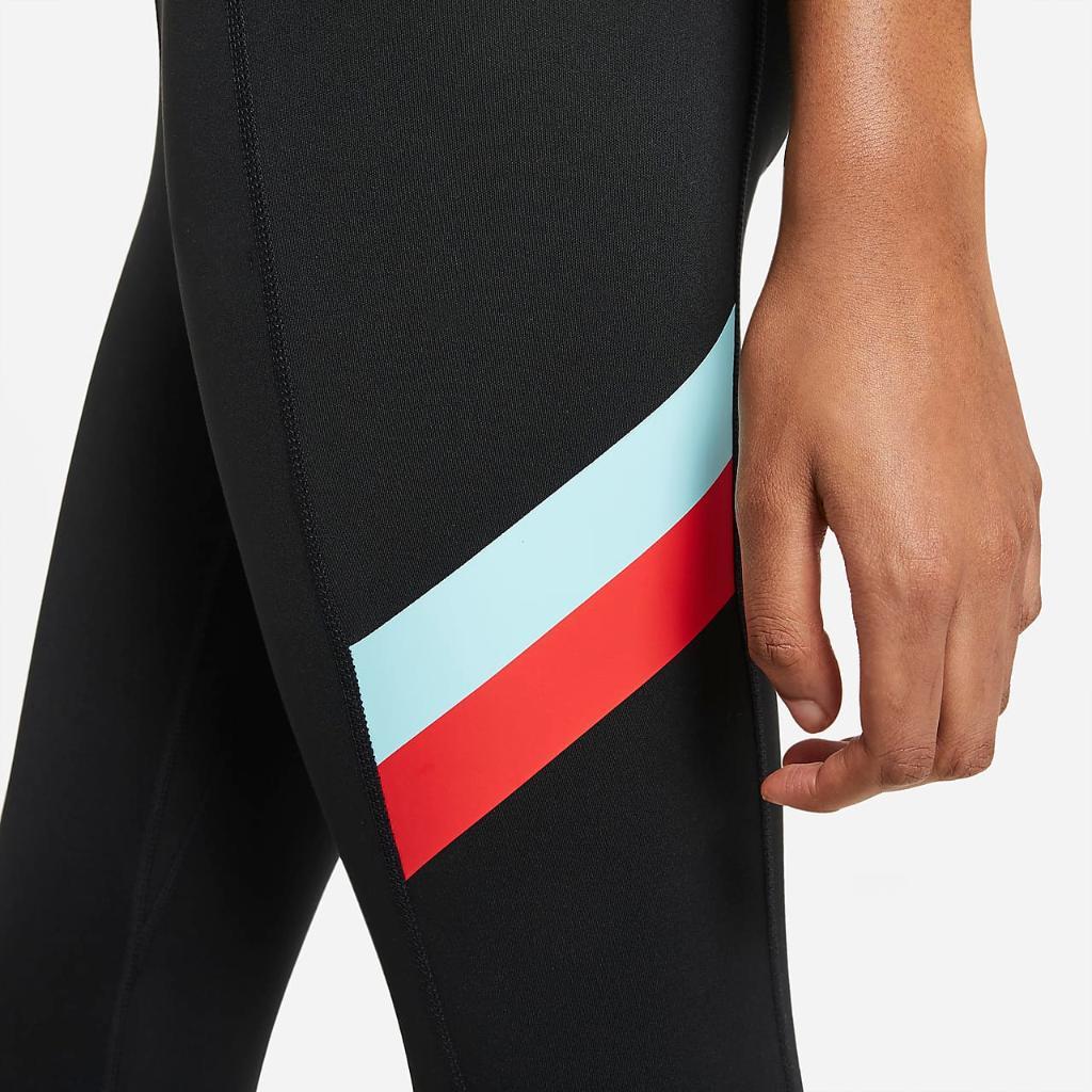 Nike One Women's Mid-Rise 7/8 Color-Block Stripe Leggings DA0916-010